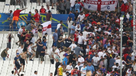 Clashes in the stadium following the England-Russia match.