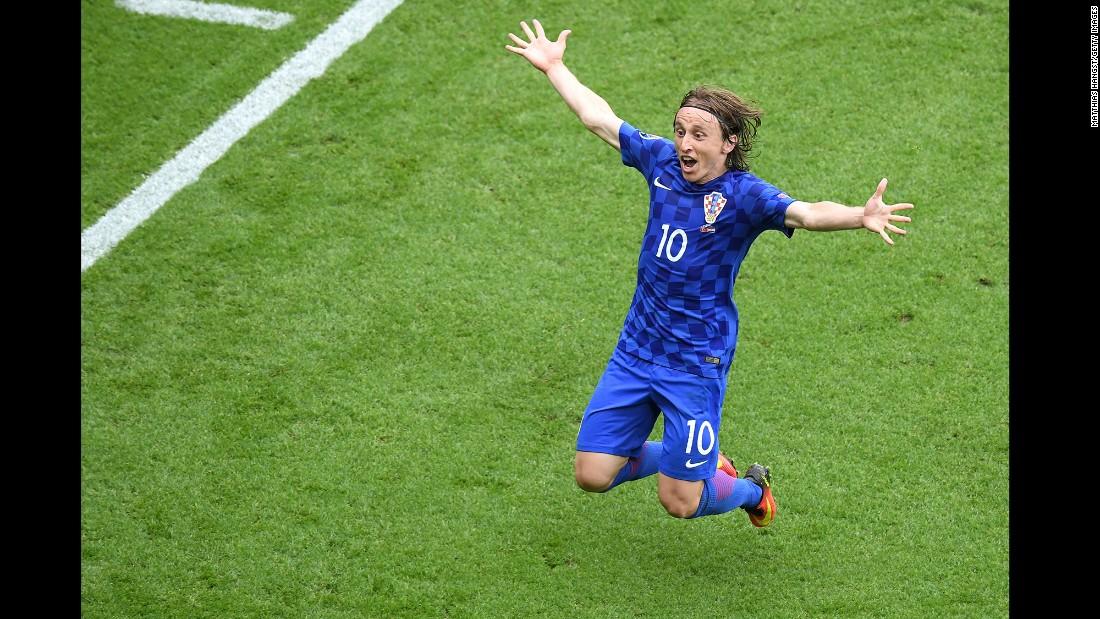 Croatia's Luka Modric celebrates after he scored a spectacular volley against Turkey in Paris. The first-half goal held up as Croatia triumphed 1-0.
