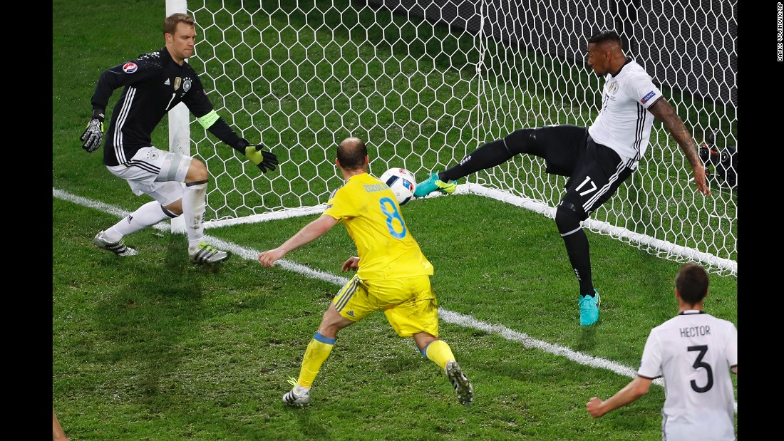 Boateng clears the ball off the line, saving what looked to be a sure Ukraine goal in the first half.