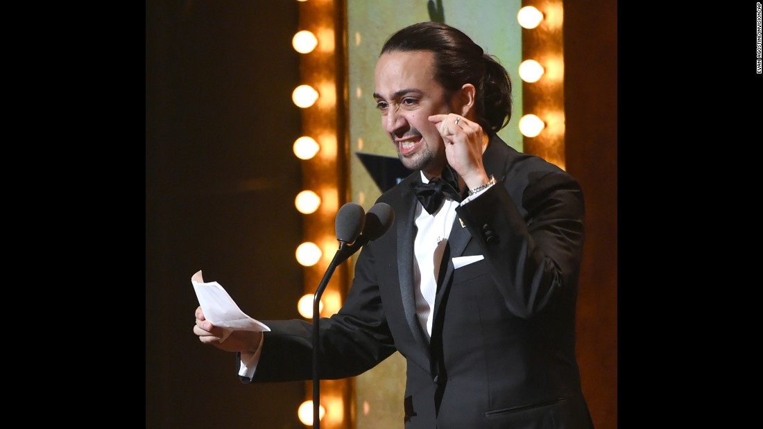 "Lin-Manuel Miranda, creator of the musical ""Hamilton,"" delivers a sonnet at the Tony Awards to pay tribute to the Orlando victims."