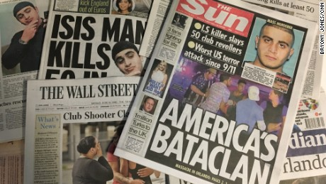 Britain's Sun newspaper drew parallels between the attacks on the Pulse nightclub and Paris's Bataclan concert venue.