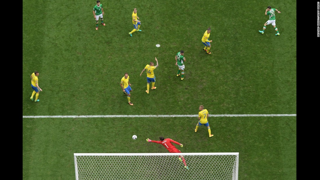 Ireland's Wes Hoolahan, top right, opened the scoring shortly after halftime.