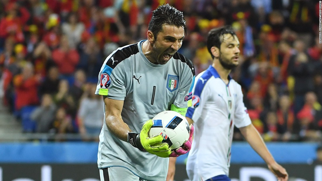 Italian goalkeeper Gianluigi Buffon reacts during his team's 2-0 victory over Belgium on Monday, June 13. Emanuele Giaccherini and Graziano Pelle scored the goals.