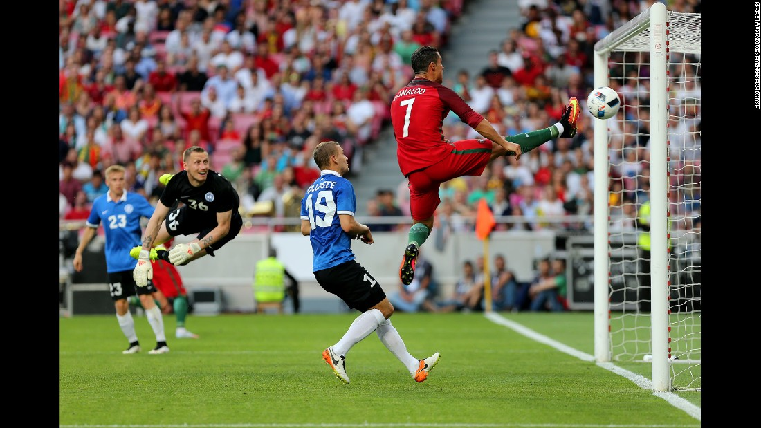Portugal's Cristiano Ronaldo stretches for the ball, but no touch was needed as teammate Ricardo Quaresma, not pictured, scored against Estonia on Wednesday, June 8. Portugal dominated 7-0 in what was a final tune-up before Euro 2016.