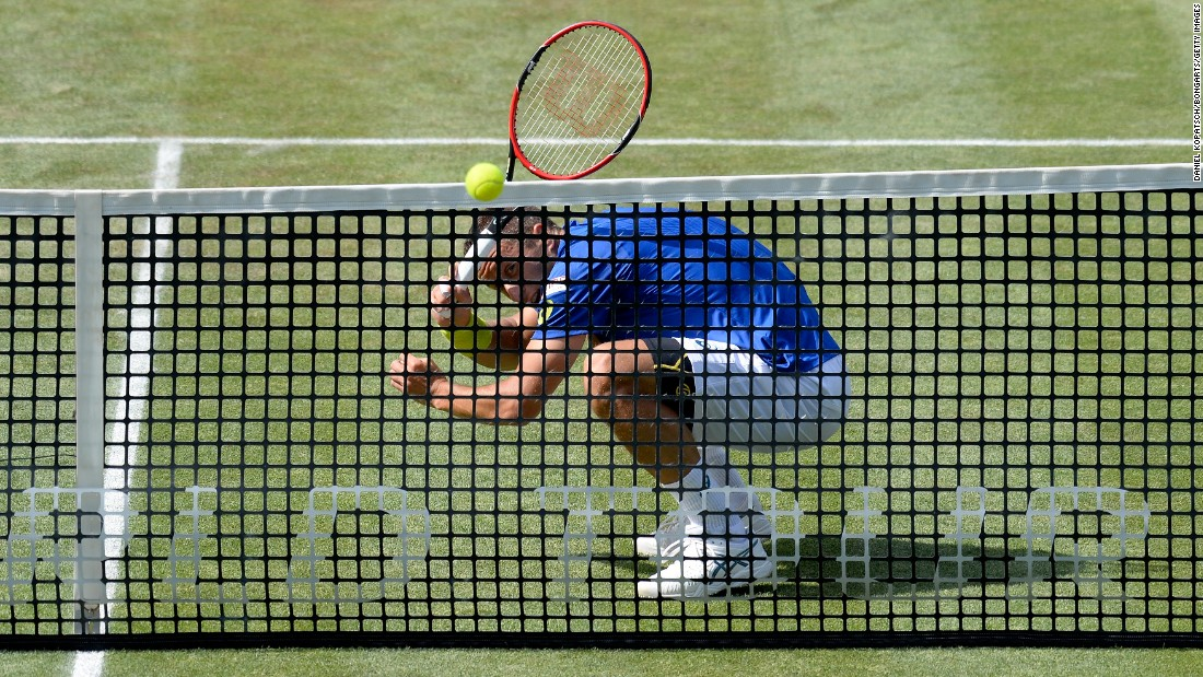 Philipp Kohlschreiber returns a shot Friday, June 10, during a match at the Mercedes Cup in Stuttgart, Germany.