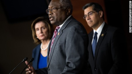 L to R, House Minority Leader Nancy Pelosi (D-CA), Rep. James Clyburn (D-SC) and Rep. Xavier Becerra (D-CA) take questions during a news conference to discuss the rhetoric of presidential candidate Donald Trump, at the U.S. Capitol, May 11, 2016, in Washington, DC.