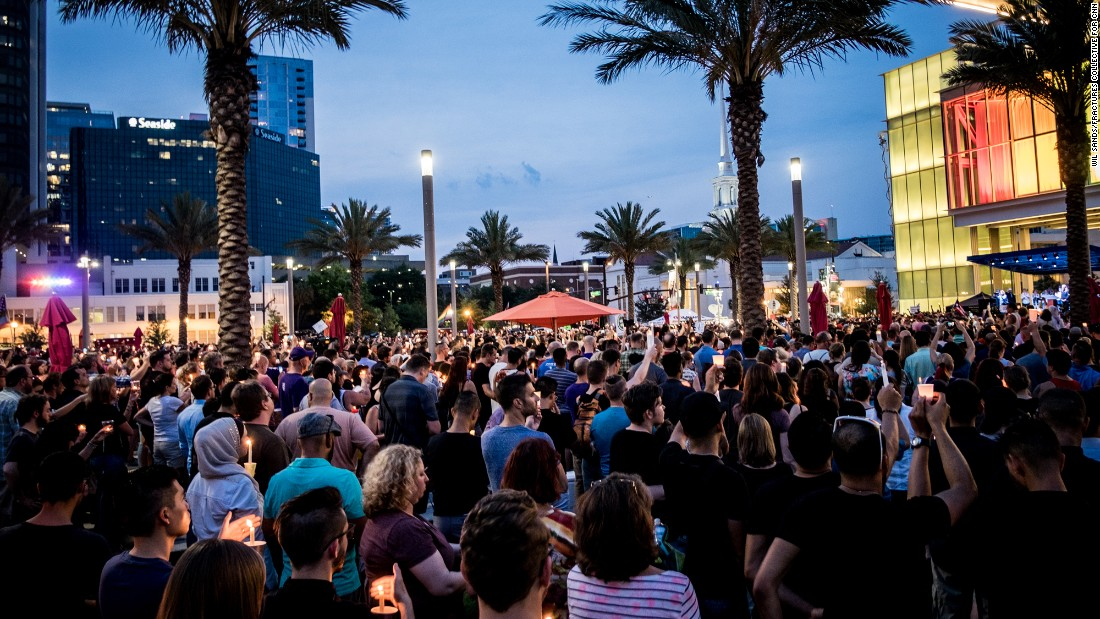 Thousands of people attended Monday night's vigil in Orlando.