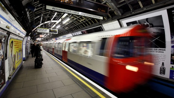 A London Underground train arrives in Victoria station on March 30, 2010, in London, England.