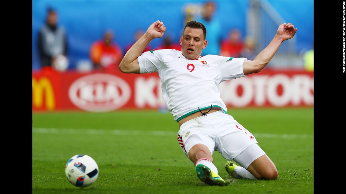 Adam Szalai scores Hungary's first goal in the 62nd minute.