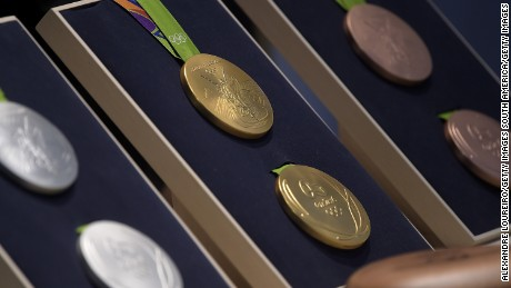 RIO DE JANEIRO, BRAZIL - JUNE 14: A close-up of the Olympic medals during the Launch of Medals and Victory Ceremonies for the Rio 2016 Olympic and Paralympic Games at the Future Arena in Olympic Park on June 14, 2016 in Rio de Janeiro, Brazil. (Photo by Alexandre Loureiro/Getty Images)