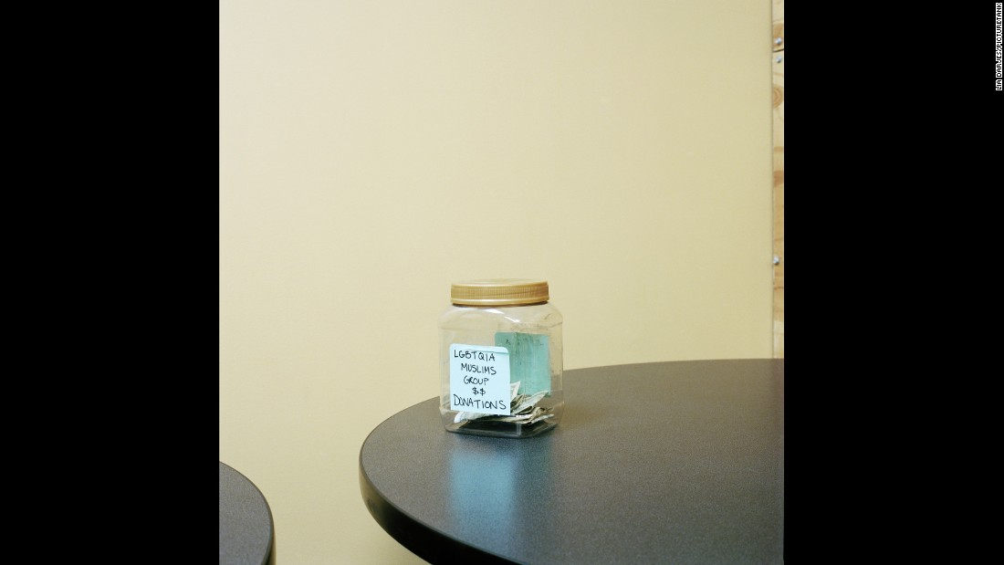 A donation jar holds money for an LGBTQIA Muslim support group in Los Angeles.