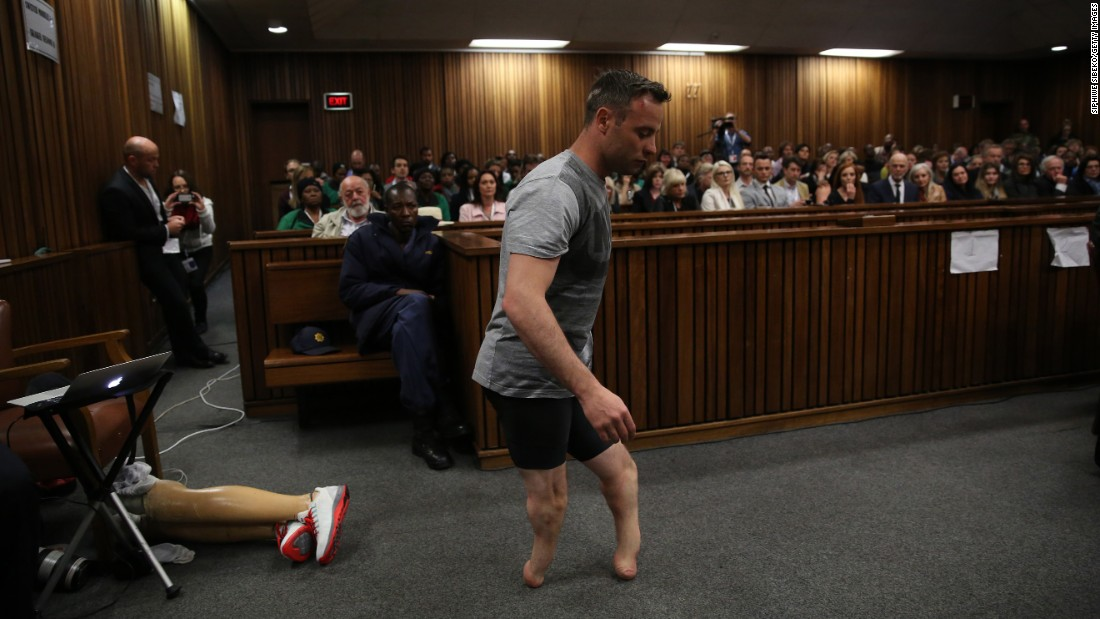"<strong>June 15:</strong> Former Olympic sprinter Oscar Pistorius walks without his prosthetic legs during <a href=""http://www.cnn.com/2016/06/15/africa/oscar-pistorius-sentencing-hearing/"" target=""_blank"">his sentencing hearing</a> in Pretoria, South Africa. His attorney was arguing that he was a vulnerable figure who should receive a lesser sentence for the 2014 murder of his girlfriend, Reeva Steenkamp. In July, <a href=""http://www.cnn.com/2016/07/06/africa/oscar-pistorius-sentence/"" target=""_blank"">a judge sentenced him</a> to six years in prison."