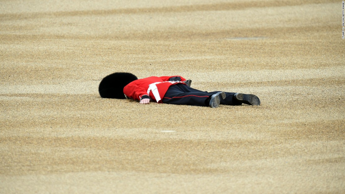 <strong>June 11:</strong> A member of the Queen's Guard fainted during the Trooping the Color parade in London. He recovered and returned to duty, authorities said.