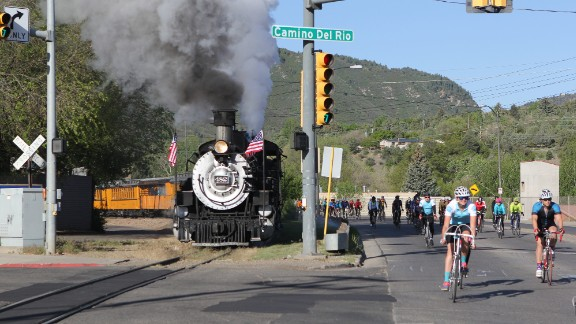 The Iron Horse Bicycle Classic is one of the oldest organized bicycle races in North America. Cyclists compete with a steam train that runs between Durango and Silverton, Colorado.