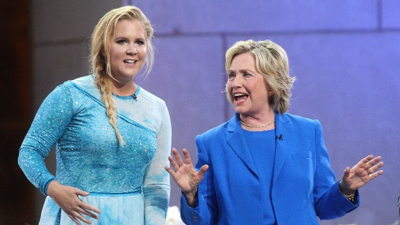 "Amy Schumer and Hillary Clinton attend ""The Ellen DeGeneres Show"" at New York's Rockefeller Center in September 2015. Schumer used a picture of the two of them from the show to declare on Twitter in March: ""#I'mWithHer."""