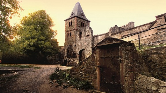 Darmstadt: Likewise, Castle Frankenstein near Darmstadt, Germany, which the author may have sailed past on the Rhine.