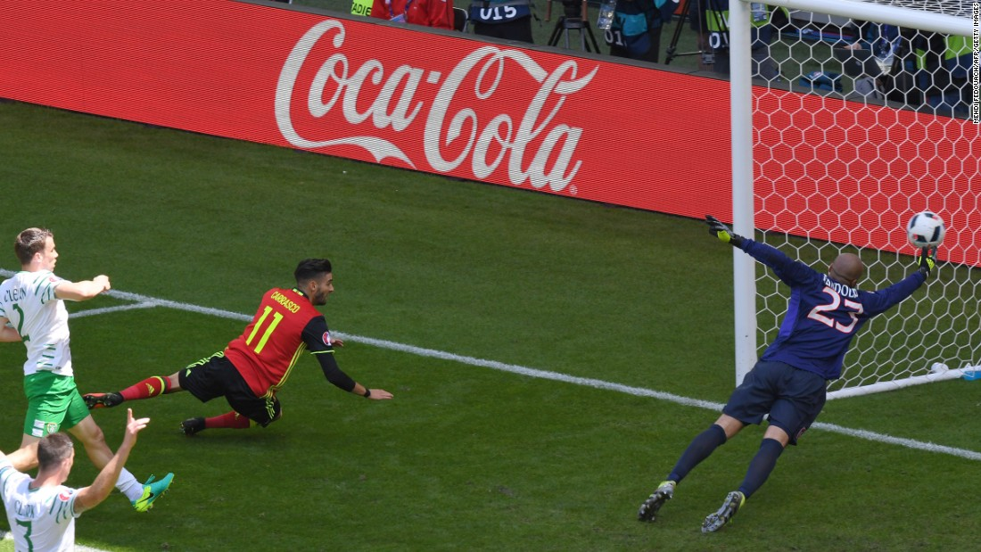 Belgium's forward Yannick Ferreira-Carrasco, center, scores a goal, that was disallowed due to offside.
