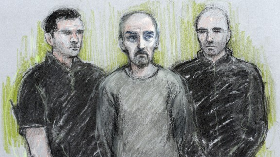 Court sketch of Thomas Mair (centre) at Westminster Magistrates' Court in London.