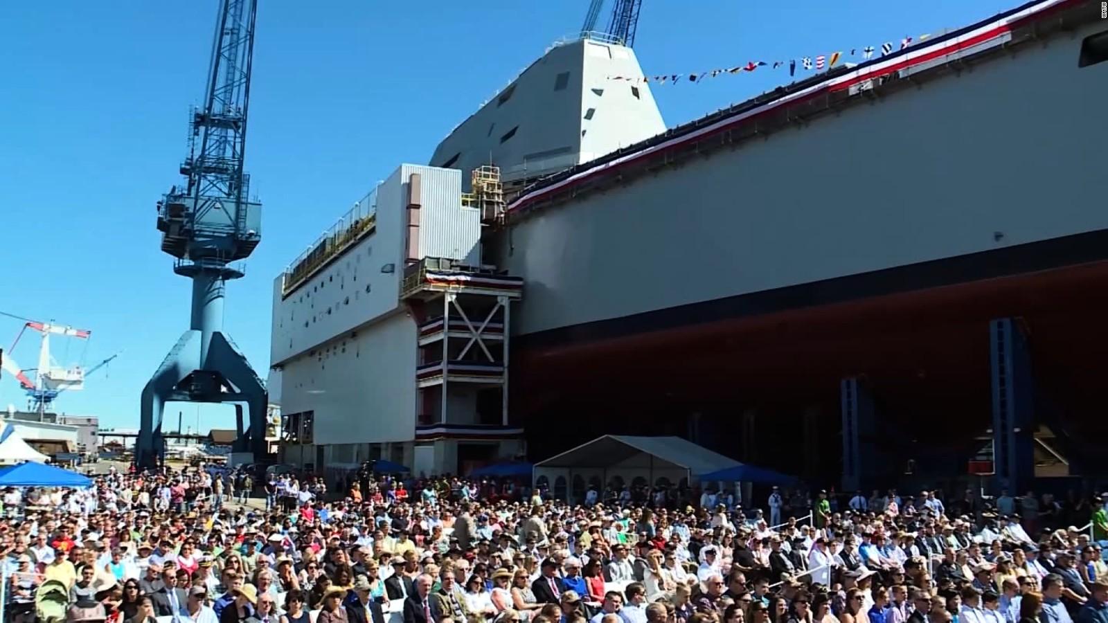 U.S. Navy\'s newest stealth destroyer USS Monsoor christened ...