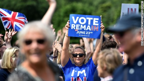 "A ""Remain"" demonstrator in Hyde Park, London."