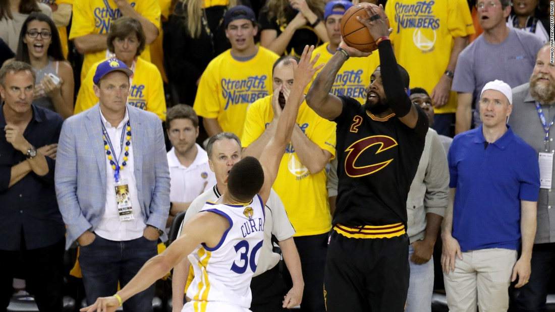 Cleveland's Kyrie Irving hits a clutch 3-pointer late in the fourth quarter. He finished with 26 points.