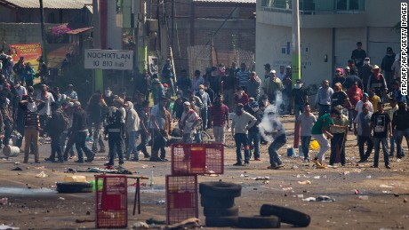 Teachers and residents clashed with Mexican federal police after protests turned violent in the state of Oaxaca on June 19.