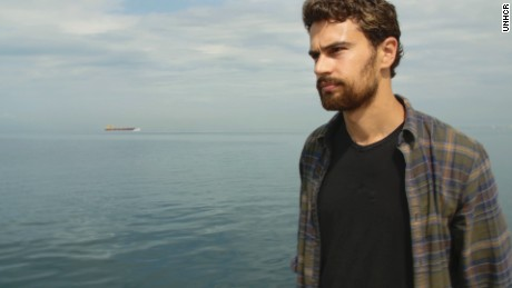 UNHCR supporter and actor Theo James in Greece, the country his grandfather fled during WWII.