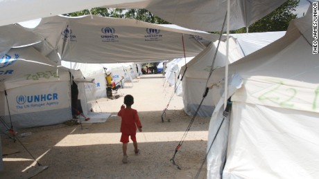 A young refugee at UNHCR's camp at Lagkadikia, home to 877 refugees, most from Syria.