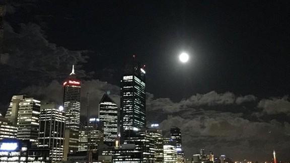 The full moon illuminates the night sky in Perth, Western Australia, on June 19.