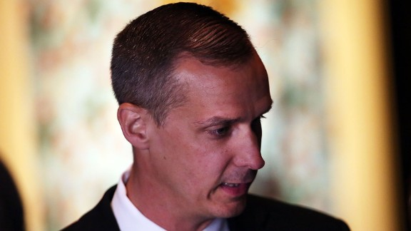 Corey Lewandowski speaks to a reporter before the Republican presidential candidate makes his way to the podium to speak to supporters and the media at Trump Towers following the conclusion of primaries Tuesday in northeastern states on April 26, 2016 in New York, New York.