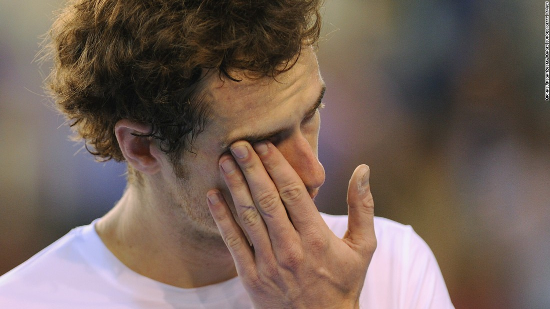 Andy Murray of Great Britain cried after winning his Davis Cup match against Gilles Muller of Luxembourg at the Braehead Arena on July 10, 2011 in Glasgow, Scotland.