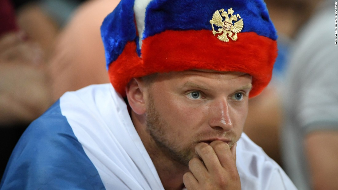 A Russia fan watches the match inside the stadium in Toulouse, France.