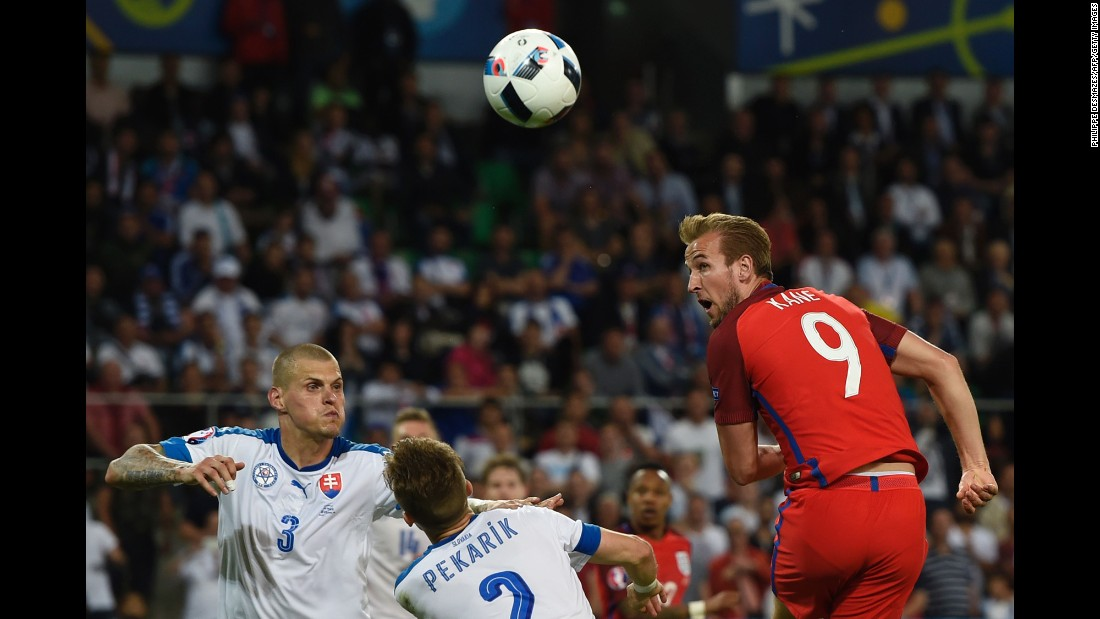 England striker Harry Kane heads the ball toward goal.