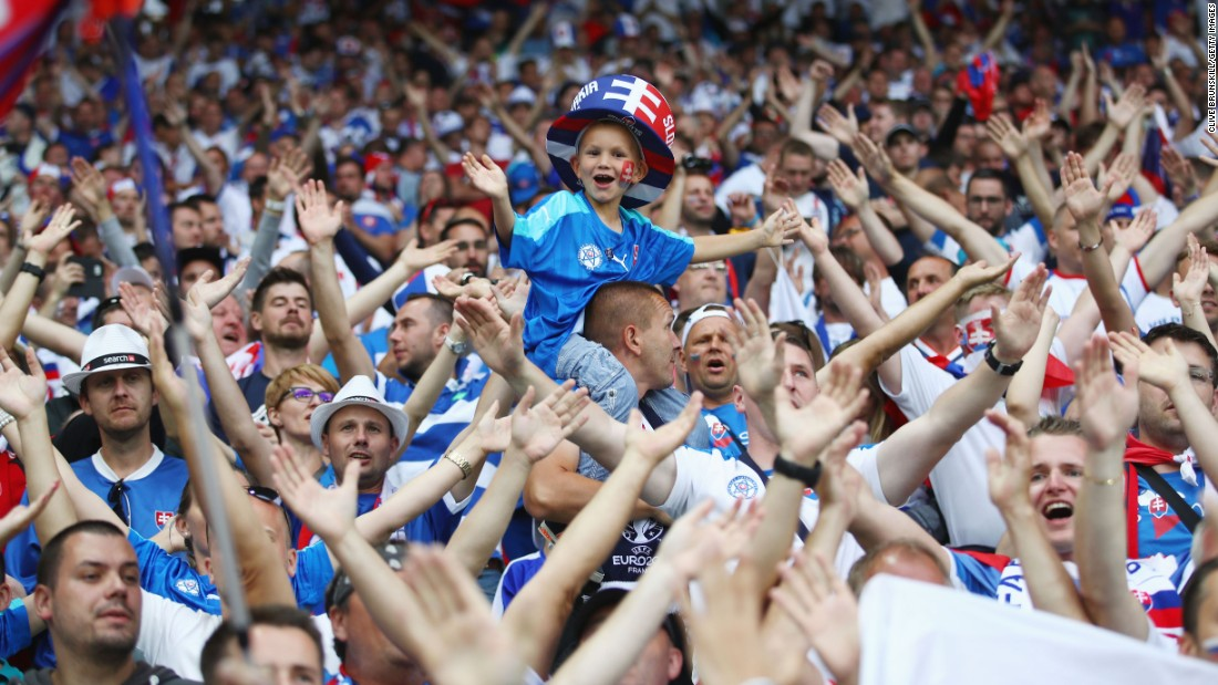 Slovakia fans show their support before the match.