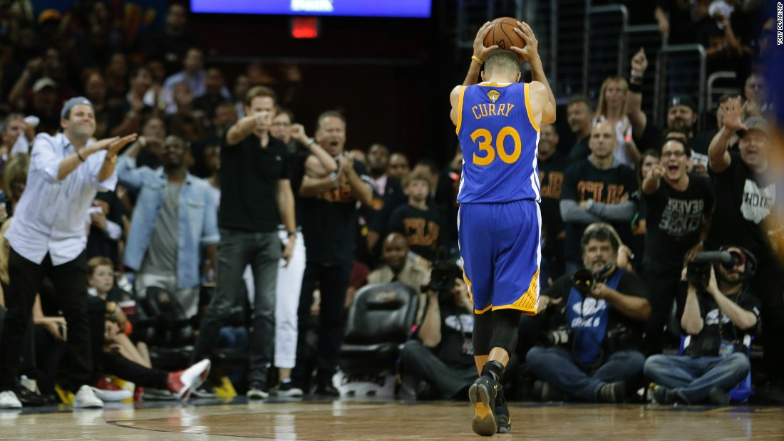 Golden State guard Stephen Curry, the NBA's Most Valuable Player this season, reacts after he was called for a foul in Cleveland on Thursday, June 16. Curry and the Warriors had a 3-1 series lead in the NBA Finals, but Cleveland won the next three games to claim the title.