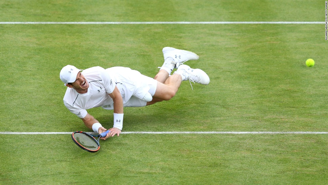 Andy Murray slips during his quarterfinal match against Kyle Edmund at the Aegon Championships in London on Friday, June 17. Murray would go on to win the tournament.