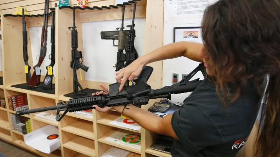 SPRINGVILLE, UT - JUNE 17:  Courtney Manwaring looks over an AR-15 semi-automatic gun at Action Target on June 17, 2016 in Springville, Utah. Semi-automatics are in the news again after the nightclub shooting in Orlando F;lord last week. (Photo by George Frey/Getty Images)