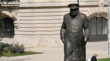 "Statue of Winston Churchill in Paris. Churchill once called for a ""United States of Europe."""