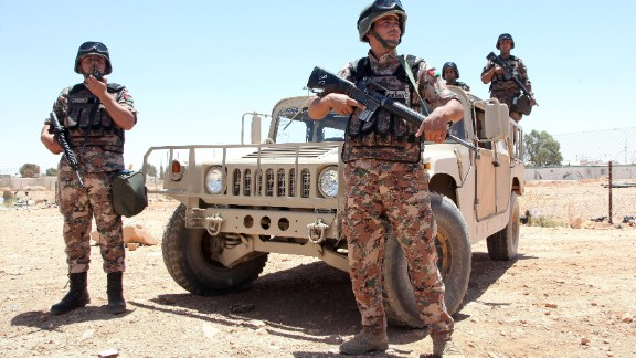 Jordanian soldiers stand guard near the country's border in this file image.