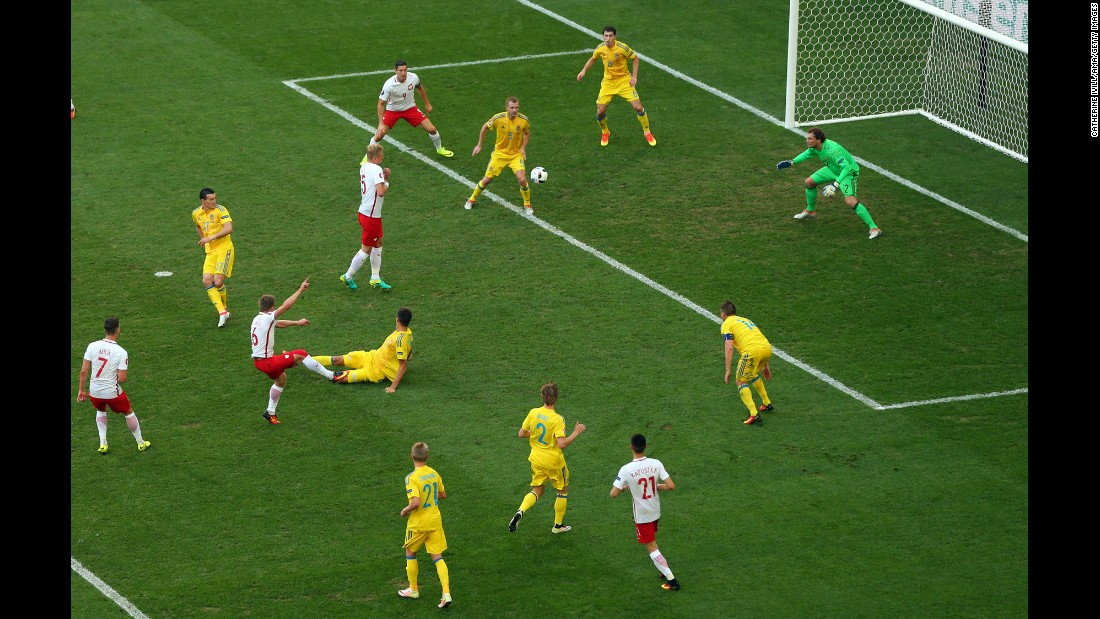 Blaszczykowski, third from left, buries his goal after coming on as a second-half substitute.