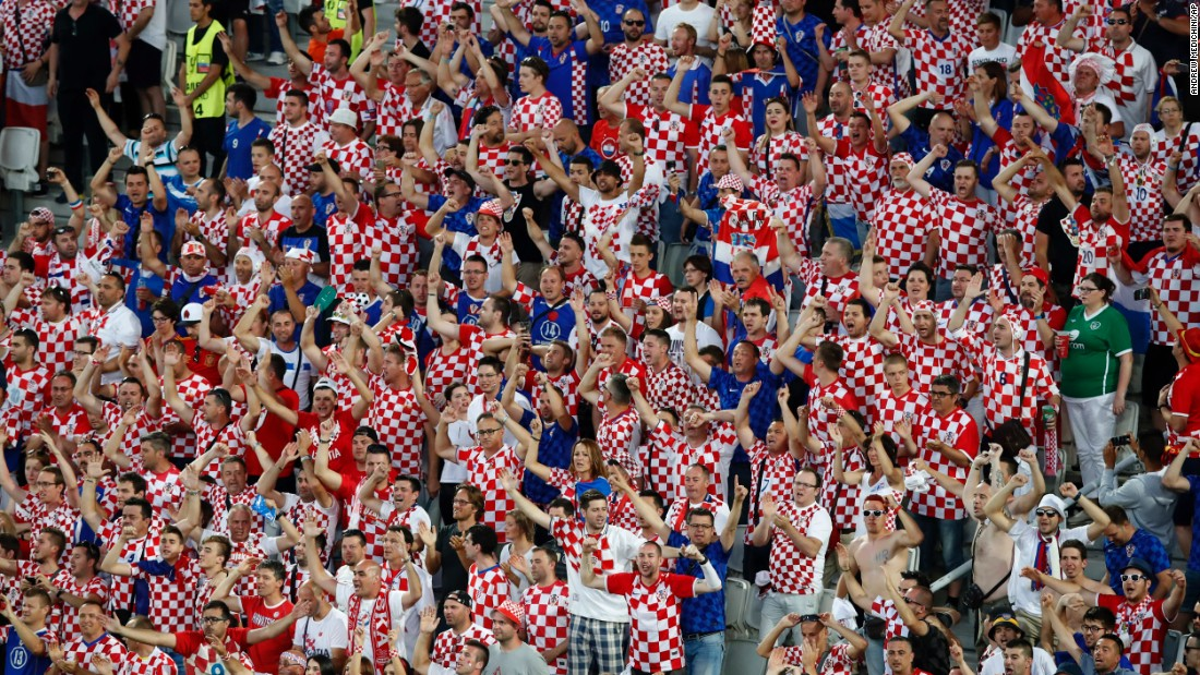 Croatian supporters cheer during the match in Bordeaux, France.