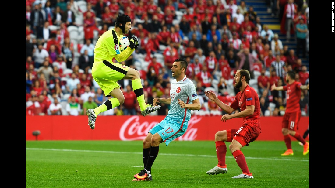 Petr Cech makes a save for the Czechs.