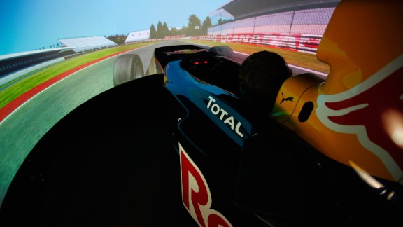"""Wraparound screens enclose the drivers in a virtual world. """"It needs more mental focus than an F1 car,"""" Gasly explains."""