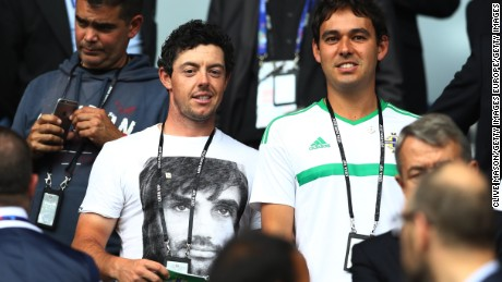 McIlroy was seen supporting his Northern Irish compatriots in their Euro 2016 match against Germany Tuesday