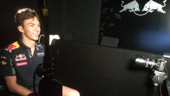 """""""I spend around 30 days in the simulator a year,"""" Gasly explains to CNN's The Circuit on a visit to the Red Bull factory in Milton Keynes, England."""