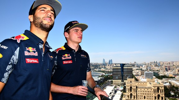 Red Bull drivers Daniel Ricciardo (left) and Max Verstappen (right) regularly use the simulator to sharpen their racing senses and learn new tracks, like the new city center circuit in Azerbaijan capital Baku, shown here.