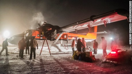 A Twin Otter aircraft is en route to a British Antarctic Survey station.