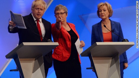 """Leave"" advocates Boris Johnson, Gisela Stuart and Andrea Leadsom take part in Tuesday's ""Great Debate."""