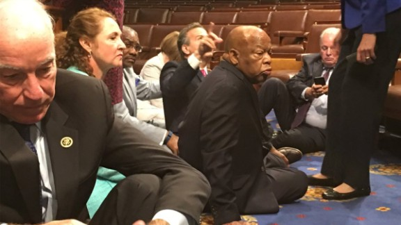 Rep. John Yarmuth posted this image of Lewis on his Twitter account. The Democrats staged the sit-in to protest the lack of congressional action on gun control after the June 12 mass shooting at an Orlando gay nightclub. Republicans sought to end the sit-in by adjourning for a recess. They criticized the Democratic effort as a publicity stunt.