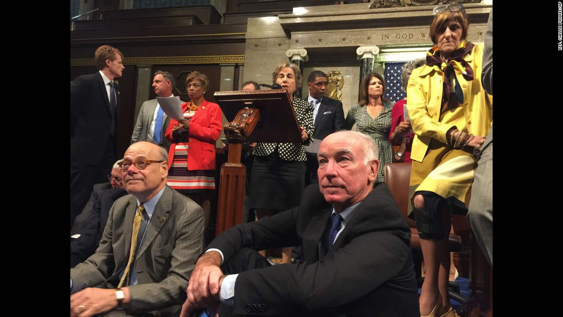 Democratic Reps. Steve Cohen, front row, left, Joe Courtney and Rosa DeLauro participate in the sit-in June 22 in a photo from  Rep. Chellie Pingree.